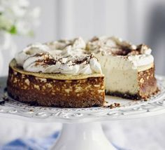Forget banana bread, use up over-ripe fruit in this low-sugar cheesecake with a chocolate and nut base and a ricotta and yogurt topping