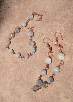 Copper & Labradorite Ombre Earrings and Bracelet Set