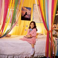 Streamer Bed Curtains - absolutely making this the b's birthday morning surprise