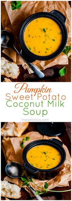 Pumpkin Soup | Pumpkin recipe | Autumn recipe | Fall recipe | Coconut milk | Vegan soup | Sweet Potato soup | Coconut milk soup | Easy soup | imagelicious