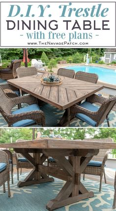 Our DIY patio table, part IA DIY tutorial for farmhouses / patio tables about Yellow Brick Home - how to build a patio table, an outdoor table, a DIY outdoor table, and a DIY dining Trestle Dining Tables, Diy Dining Table, Patio Dining, A Table, Trestle Table Plans, Deck Table, Farmhouse Table Plans, Farmhouse Decor, Outdoor Farmhouse Table