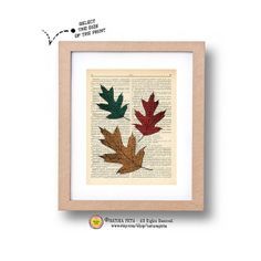 Leaves dictionary print  leaf art print leaf on by naturapicta, $5.99 © NATURA PICTA All Rights Reserved