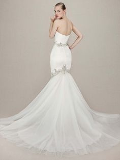 2c37570e275 enzoani bridal 2016 kenzi straplesss sweetheart mermaid gown embroidered  beaded lace silver beading back view train -- Top 50 Most Popular Bridal ...