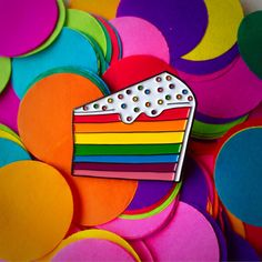 Rainbow cake enamel pin - lapel pin - hat pin - pin badge