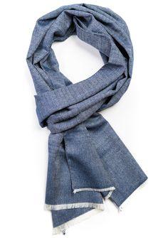 Gino Navy Silk & Wool Scarf