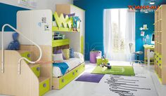 Mẫu giường tầng cho bé và tủ bếp gỗ tự nhiên cao cấp - Giường ngủ đôi | Giường ngủ đẹp | Giường tầng