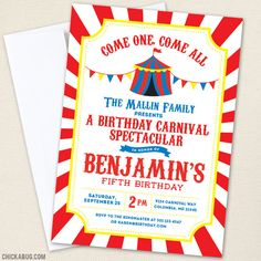 Carnival or Circus Birthday Party Printable Decor Kit (Digital File) Carnival or Circus Party Invitations – Come one, come all! This carnival party theme is the cutest! Carnival Birthday Invitations, Carnival Birthday Parties, Birthday Party Themes, 2nd Birthday, Birthday Ideas, Invitations Kids, Women Birthday, Photo Invitations, Printable Invitations