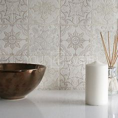 Details zu 'Marokkanische Kachel' Geometrisch Fliesen-effekt Tapete grau, Beige…