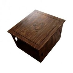 Our smaller version of the larger crate coffee table is made from 2 of our standard crates on their sides with a 20mm thick waxed pine top and castors fitted to the bottom. Available in Vintage finish. Graphics are optional and customisable. Dimensions are L 610mm x W 540mm x H 460mm.  All Products Are Made To Order.