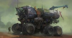 The magnificent science fiction art of Arnaud Caubel, a freelance concept artist and digital illustrator based in Montpellier, France. Steampunk, Futuristic Cars, Futuristic Vehicles, Science Fiction Art, Future Car, Future Trucks, Commercial Vehicle, Sci Fi Art, Fantasy Artwork