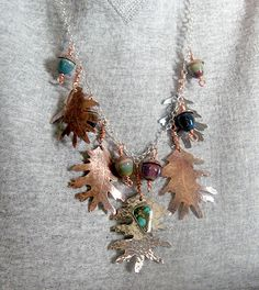 Copper, Sterling & Lampwork Beads Acorns & Oak Leaves Necklace.