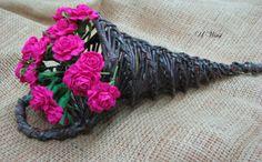 papierowa wiklina - paper basket crepe paper flowers