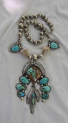Large-Sterling-Silver-Turquoise-Handmade-Squash-Blossom-Necklace-Signed