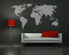 "Wall Decal Vinyl Sticker Home Decor Modern Art Mural "" Big World Map ""45.3'' x 90.6"". $115.00, via Etsy."