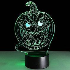 Halloween Festival 3D Funny Pumpkin Shape Touch Colorful Night Light - TRANSPARENT
