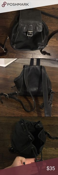Authentic coach black leather backpack Authentic coach black leather backpack! Very loved but still has years in it! Would love to keep just alittle to small for my needs! Coach Bags Backpacks