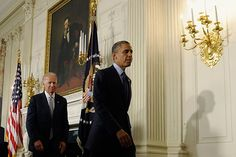 President Barack Obama and Vice President Joe Biden leave the State Dining Room of the White House in Washington, Monday, July 8, 2013, after the president outlined his vision for better government services delivered at lower taxpayer expense.