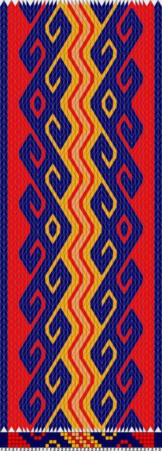 Dogs by the River (Tablet Weaving, Ram's Horn or Kivrim variation)