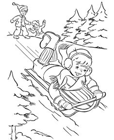 Cute Sledding Picture To Color Playing Kids Enjoying Life
