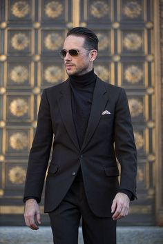 Monochrome: Dark Brown Suit with Layered Turtleneck Sweater - He Spoke Style