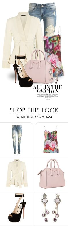 """""""Peplum jacket"""" by boxthoughts ❤ liked on Polyvore featuring BCBGMAXAZRIA, Wet Seal, Ted Baker, Donna Karan, Givenchy and Prada"""