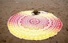 Set of 2 Round Beach Blanket or Mandala Tapestry Hippie Indian Picnic Table Cover Hippy Spread Boho Gypsy Cotton Tablecloth Beach Towel Meditation Rug Circle Yoga Mat - 72 Inches, Yellow and Pink Bohemian Dorm, Boho Gypsy, Mandala Print, Mandala Tapestry, Picnic Table Covers, Morrocan Decor, Meditation Mat, Pink Towels, Hawaiian Decor