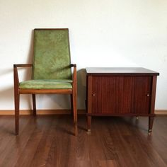 vintage mid century modern record storage cabinet with sliding doors. retro side table. vintage furniture. | ReRunRoom |