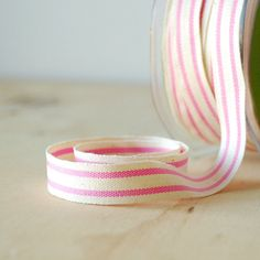"5 Yards Organic Cotton Ribbon Pink Stripe French Style 5/8"" Natural Cotton Twill Tape"