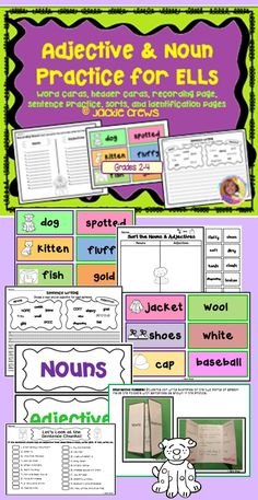 Here are the exact pages in the file:  1.Rationale for this approach to teaching nouns/adjectives 2. Suggestions for use 3. 18 noun cards/ 18 adjective cards for a total of 36 cards 4. Noun/adjective header cards 5. Identification of nouns/adjectives from a short text 6. Noun/adjective header cards for pocket chart sorts 7. Recording sheet for noun/adj.cards 8. Sentence writing page w/ nouns/adjectives 9. Interactive foldable with example photos 10. 20 Point assessment