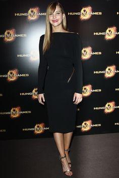Jennifer Lawrence wearing Tom Ford Fall 2012 Longsleeve Dress in Black.