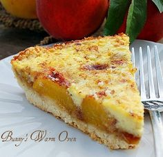 Bunny's Warm Oven: Cinnamon Peach Kuchen...a wonderful combination of texture and flavors.  This is one terrific recipe!