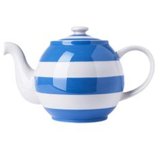 Large Betty Teapot - the blue and white stripes are recognized by the British as tableware from Cornwall.Green & Co. Makers Of Cornishware - Classic English Practical And Delightful Kitchenware. I love Cornish Blue! Vintage China, Vintage Tea, Betty Blue, Brown Betty, Cornishware, Blue And White China, Blue China, Chocolate Pots, Tea Accessories