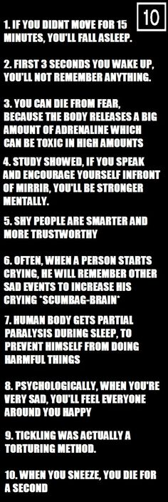 Ten Psychological Facts Funny Picture
