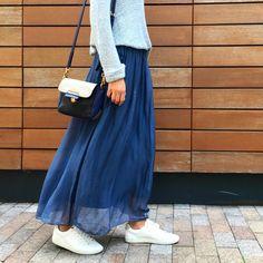 Perepoloh, long silk blue skirt