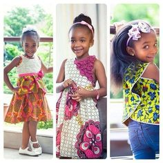 Love this cutie pie in three different Ankara styles, she is adorable. #Ankara #kids #Fashion #beautiful #Fashionista #styles #Africanprint #cute