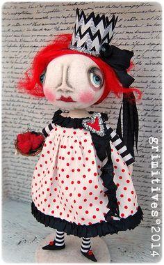 Primitive Original Art Doll - Valentine Queen of Hearts by doll artist Kaf Grimm of GRIMITIVES