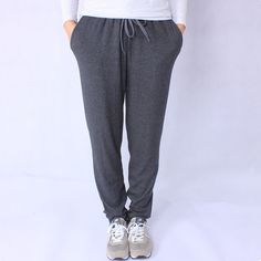 Casual Loose Pants Women Lace Up Pants 2017 New Spring Sweatpants Women Mid Waist Drawstring Straight Trousers Women Black Gray