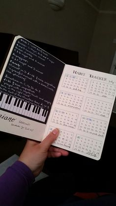 Bullet journal double page spread including a page on piano grading and habit tracker Bullet Journal Index Page, Bullet Journal Travel, Bullet Journal Notebook, Bullet Journal Ideas Pages, Bullet Journal Layout, Bullet Journal Inspiration, Music Journal, Book Journal, Bujo