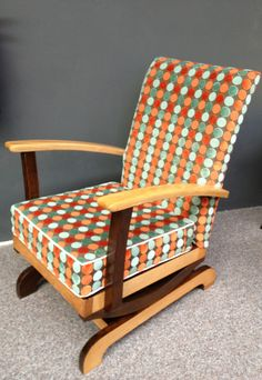 Danish Mid-Century Two Tone Spotted Rocking Chair