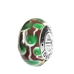 Brown Murano Glass with Green Leaves & White Vines Charm on Sterling Silver #charms  #fashion