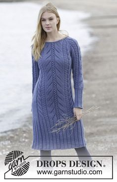"""Knitted DROPS dress with raglan, cables and textured pattern, worked top down in """"Nepal"""". Size: S - XXXL. ~ DROPS Design"""