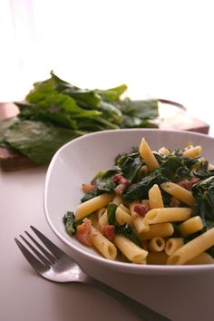 penne with swiss chard and pancetta--just got a bunch of swiss chard in my veg box and pancetta in the fridge! dinner tonight