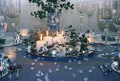 bougies blanches bleu élégant de Noël décoration de table en argent