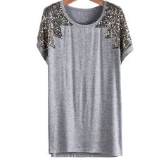 29,90EUR T-Shirt mit Glitzer Pailletten grau