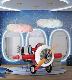 Plane décor bedroom | Discover these awesome kids' furniture to create a plane themed bedroom for little aviators. More at CIRCU.NET