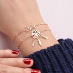 Bracelet Love - Or Rose Cute Jewelry, Modern Jewelry, Boho Jewelry, Jewelry Bracelets, Jewelry Accessories, Fashion Jewelry, Diamond Bracelets, Gold Jewellery, Ankle Bracelets