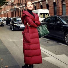 New Brand Down Jacket Winter Long Thick Slim Hooded Jacket Ukraine Parka Manteau Femme Hiver Plus Size Jacket Winter Red Coat