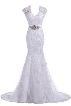 Gorgeous Bridal Elegant V-neck Long Lace Slim Cut Wedding Gown Trumpet- US Size 2 Gorgeous Bridal http://www.amazon.com/dp/B00H7WFKA4/ref=cm_sw_r_pi_dp_6lmStb1JRTWS37PM