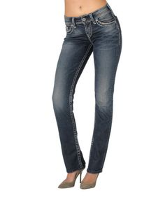 Love this Medium Indigo Suki Mid-Rise Straight Leg Jeans - Women by Silver Jeans Co. on #zulily! #zulilyfinds