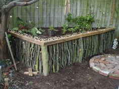 Picture of Natural Wood Raised Garden - might be a good way to create raised beds for us Raised Garden Beds, Raised Beds, Raised Planter, Raised Gardens, Diy Jardin, Garden Structures, Flower Beds, Dream Garden, Garden Planning